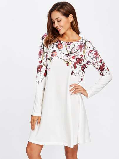 Botanical Print Flowy Dress