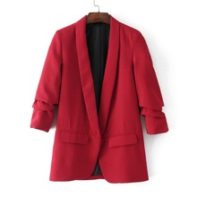 Ruched Sleeve Shawl Collar Tailored Blazer