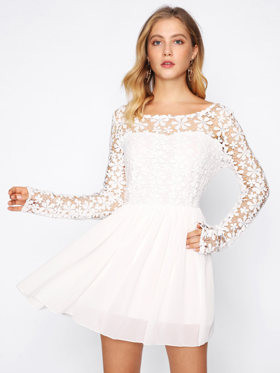 Hollow Out Crochet Panel V Back Swing Dress -SheIn(Sheinside) 13ee4804eda2