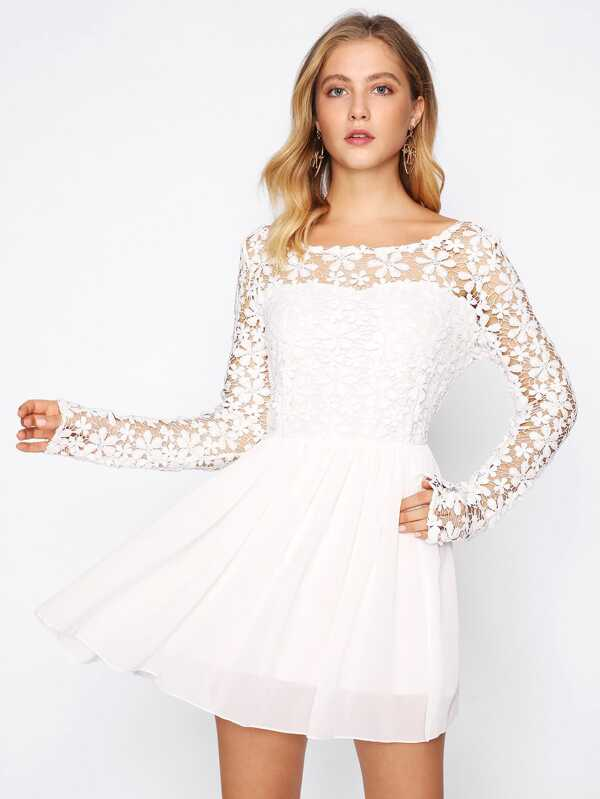 e129952937ad Guipure Lace Top Skater Dress | SHEIN UK