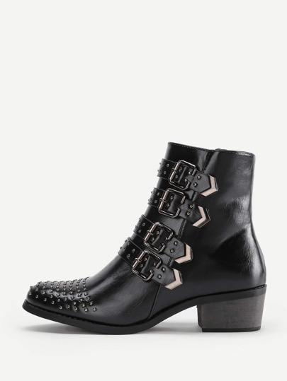 Buckle & Studded Design Block Heeled Boots