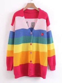 Block Striped Heart Patch Sweater Coat