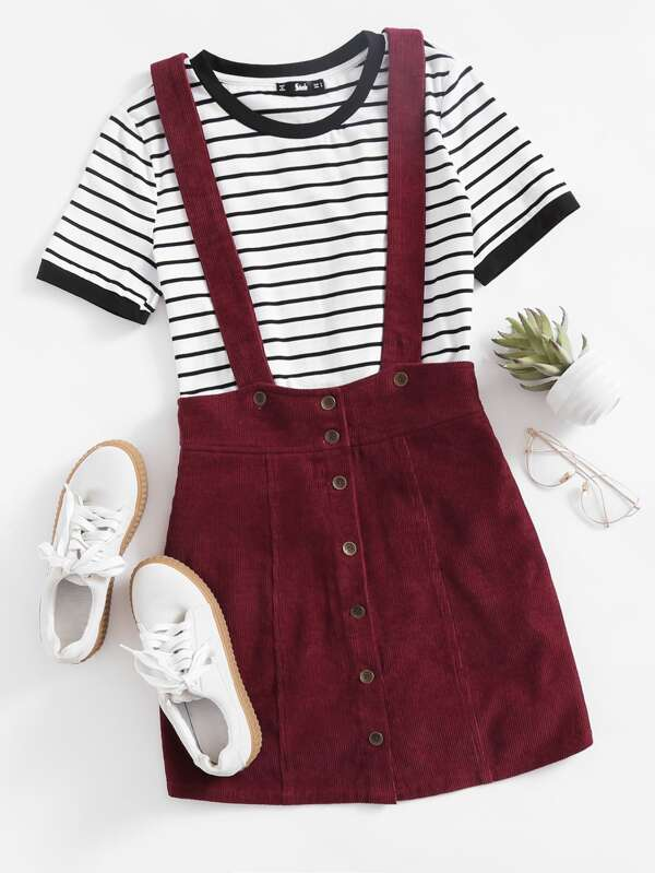 28a356eebe3dc Button Up Cord Overall Mini Skirt   SHEIN
