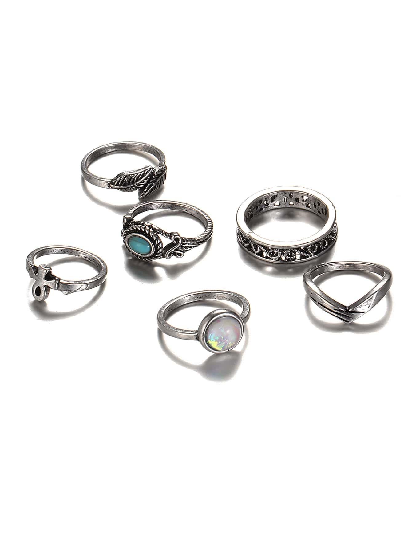 39bcbf254d Turquoise Detail Multi Shaped Ring Set 6pcs | SHEIN UK