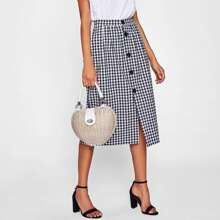 - Gingham Single Breasted Skirt