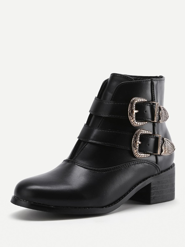 dca763ba5112 Double Buckle Side PU Ankle Boots