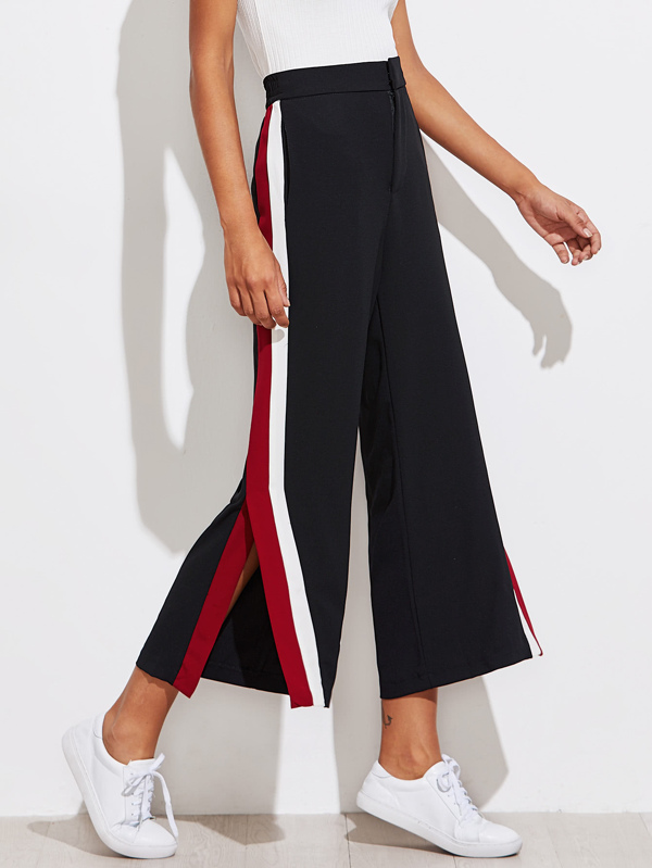 7e8ce1b2a8 Color Block Tape Side Slit Pants | SHEIN IN