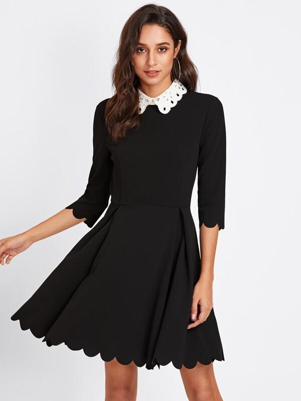 f7a4dcf6e1b Schiffy Collar Scalloped Edge Skater Dress   SHEIN