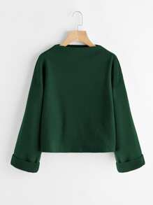 Drop Shoulder Ribbed Cuffed Sweatshirt