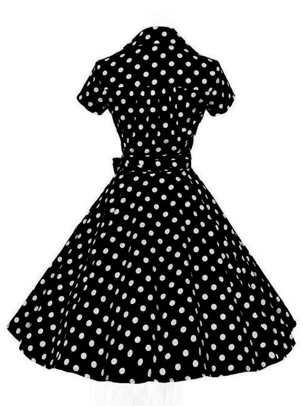 1f2f47e9aa0d Polka Dot Belt Wrap Skater Dress | SHEIN UK
