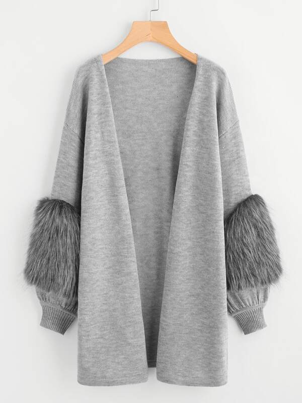 aba521212f Contrast Faux Fur Sleeve Open Front Cardigan | SHEIN
