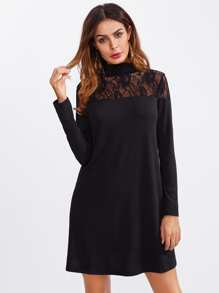 Lace Yoke High Neck Dress