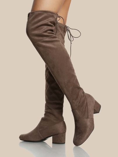 Back Tie Faux Suede Thigh High Boots DEEP TAUPE