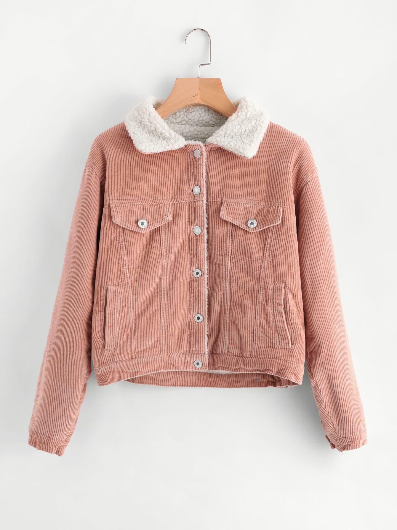 Fleece lined corduroy jacket womens
