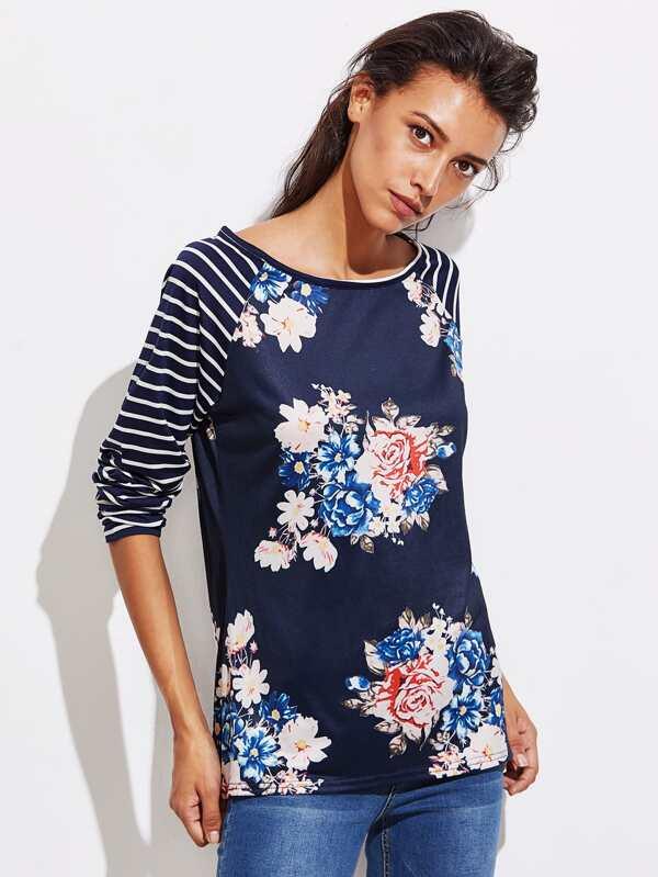 Tee-shirt manche raglan à rayures imprimé fleuri -French SheIn(Sheinside)