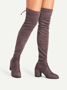 7459cb62433 Cheap Tie Back Over Knee Block Heeled Boots for sale Australia