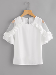 Sheer Insert Frill Trim Blouse