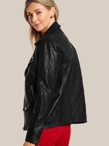 eb18d9a24 Oversize Faux Leather Moto Jacket BLACK