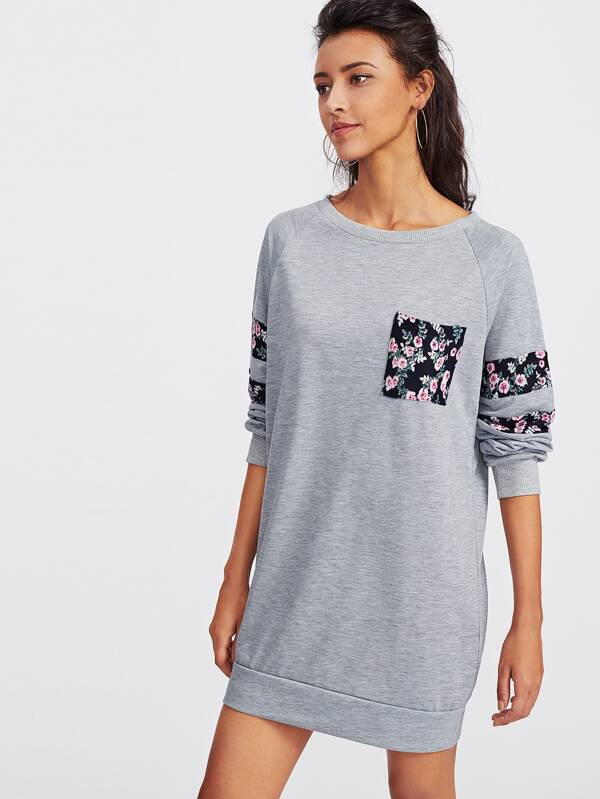 461b4cc38a9 Contrast Panel Raglan Sleeve Marled Sweatshirt Dress
