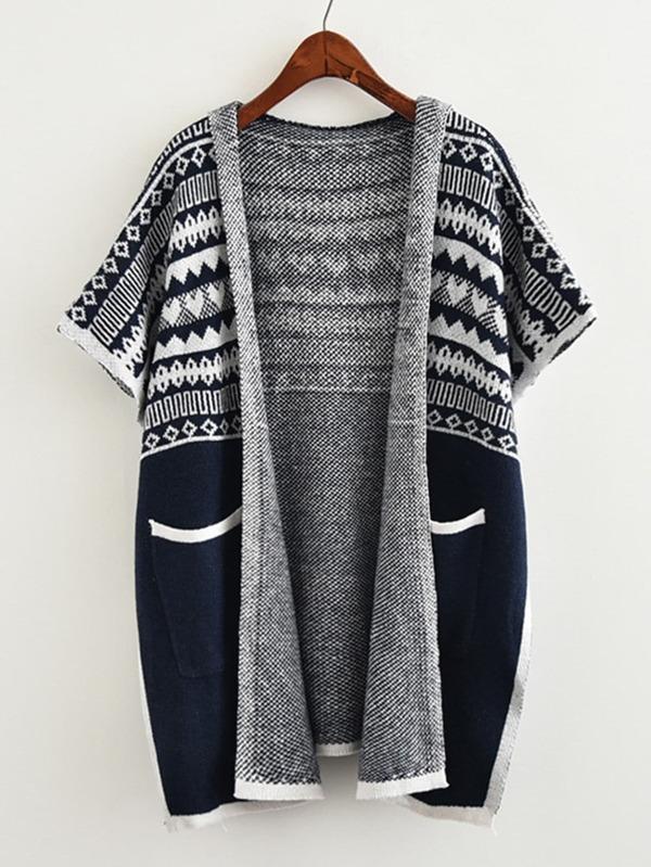 Contrast Trim Aztec Pattern Hooded Knit Coat -SheIn(Sheinside)