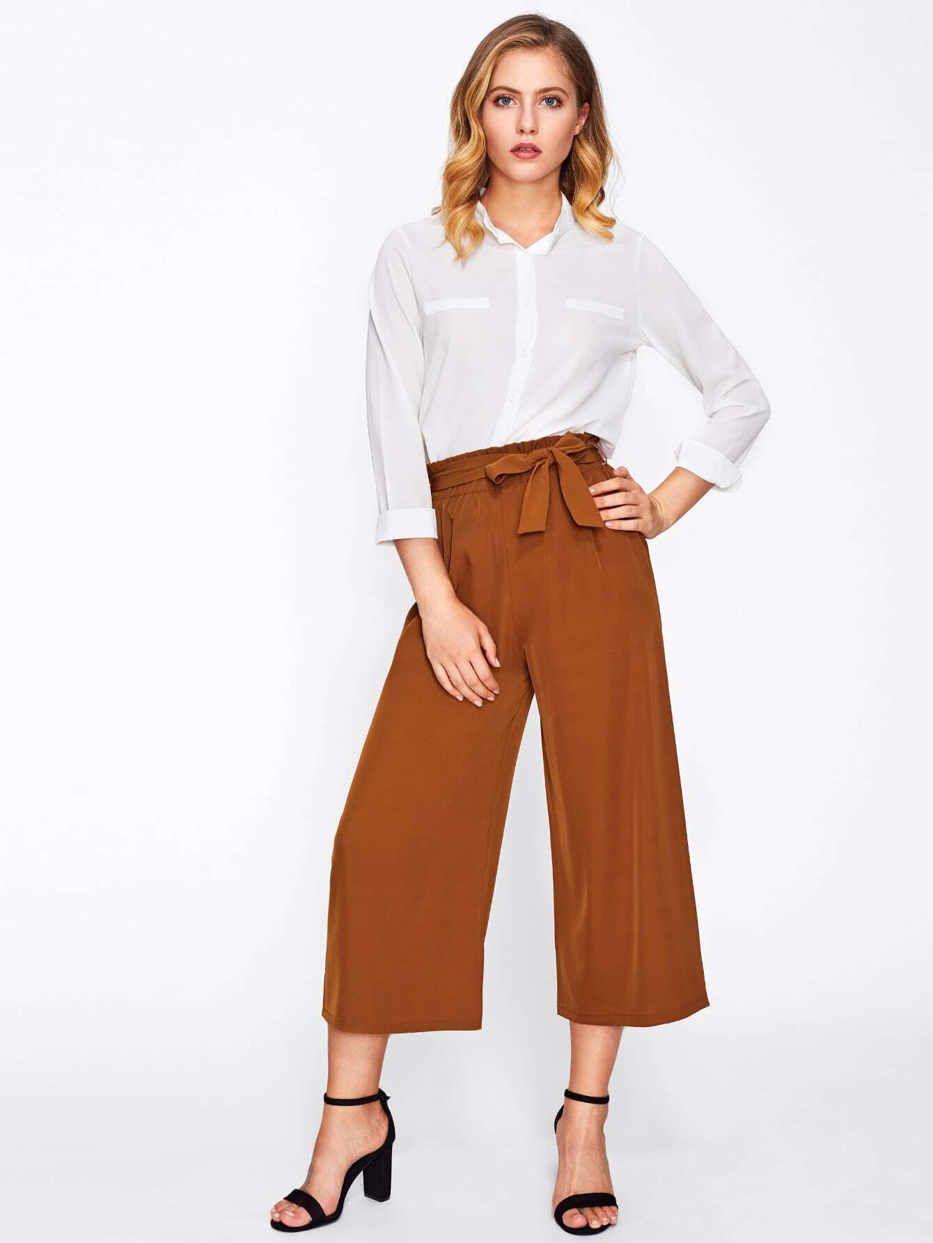 pantalons jambe large avec n ud papillon french shein sheinside. Black Bedroom Furniture Sets. Home Design Ideas