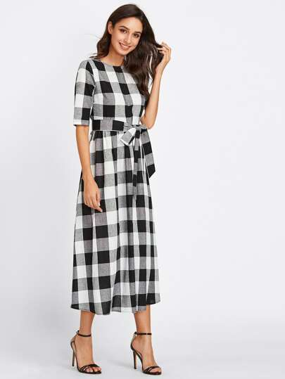 buttoned keyhole self tie checkered dress shein sheinside