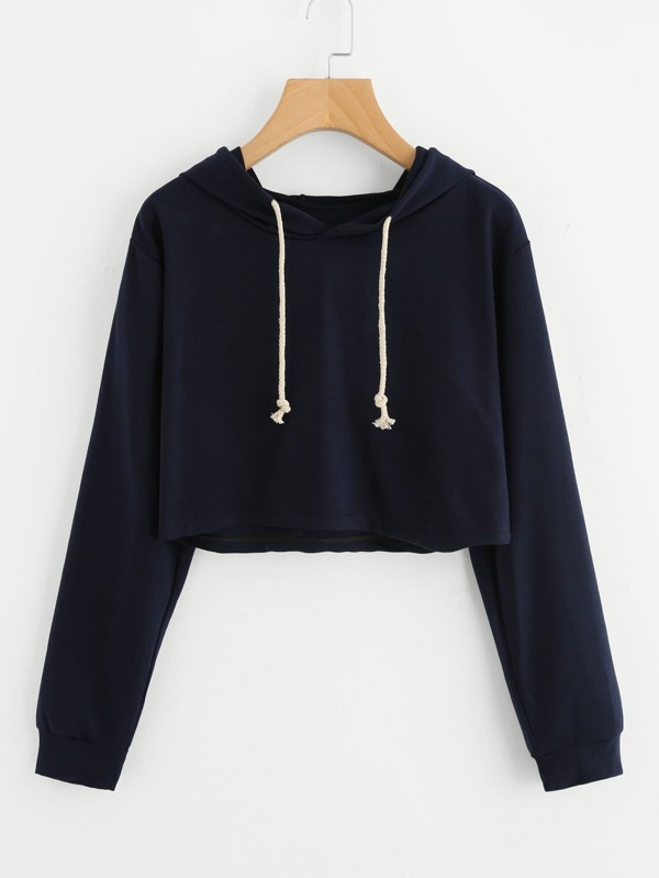 f50ccc31acb Drawstring Hooded Crop Sweatshirt
