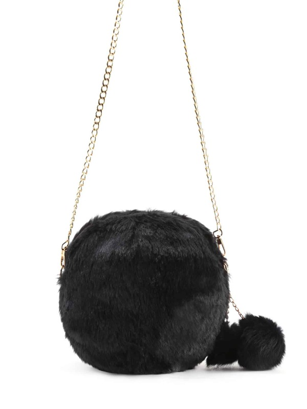 dbe4e07353 Faux Fur Overlay Crossbody Bag With Pom Pom | SHEIN