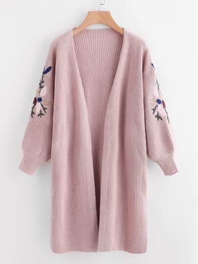 Floral Embroidered Side Split Longline Sweater Cardigan
