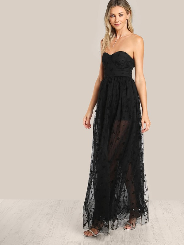 27530324ac Star Flock Mesh Overlay Strapless Bustier Dress