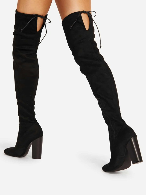 32aa056f5c Lace Up Detail Block Heeled Thigh High Boots   SHEIN UK