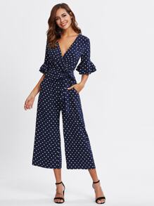 Tiered Trumpet Sleeve Surplice Wrap Jumpsuit