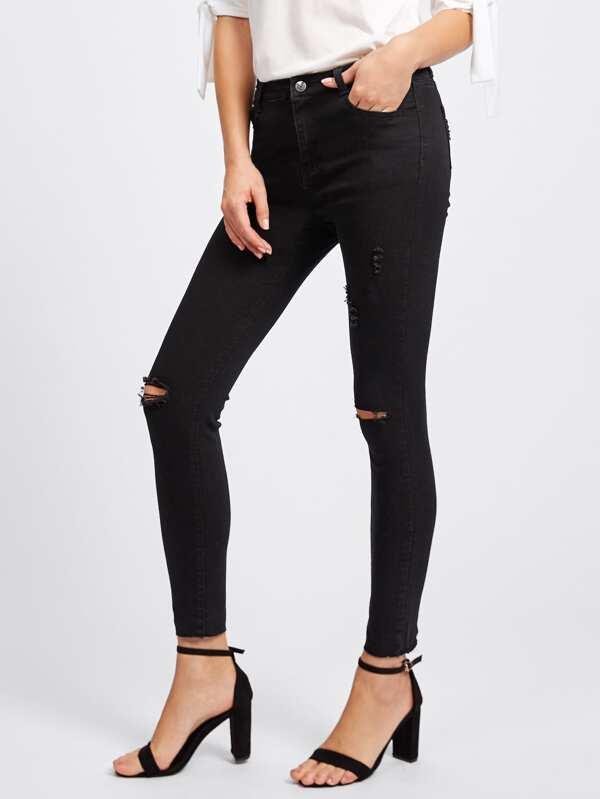 769b4835944 Knee Rips Raw Hem Skinny Ankle Jeans | SHEIN