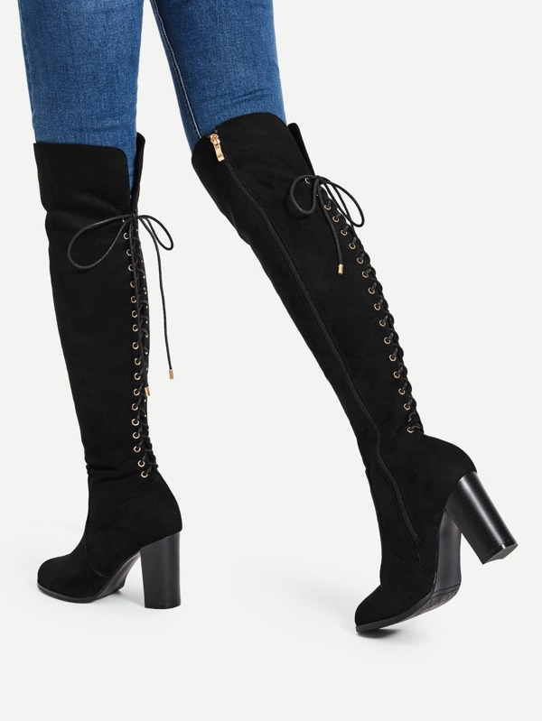 267b458b4630d Cheap Lace Up Back Block Heeled Knee High Boots for sale Australia | SHEIN