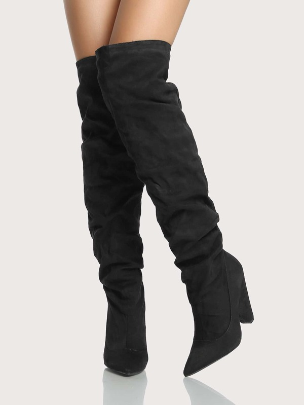3d32d3a88a2d Madam18 Black Over Knee Thigh High Slouch Boots On Chunky Block Heel
