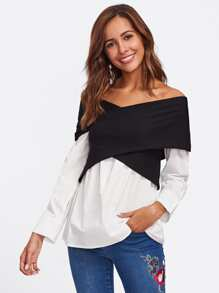 Two Tone Cross Wrap Bardot Top
