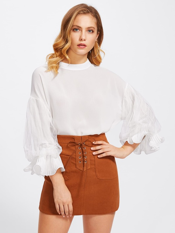 65d926bca31f3b Exaggerated Bishop Sleeve Drop Shoulder Blouse | SHEIN IN