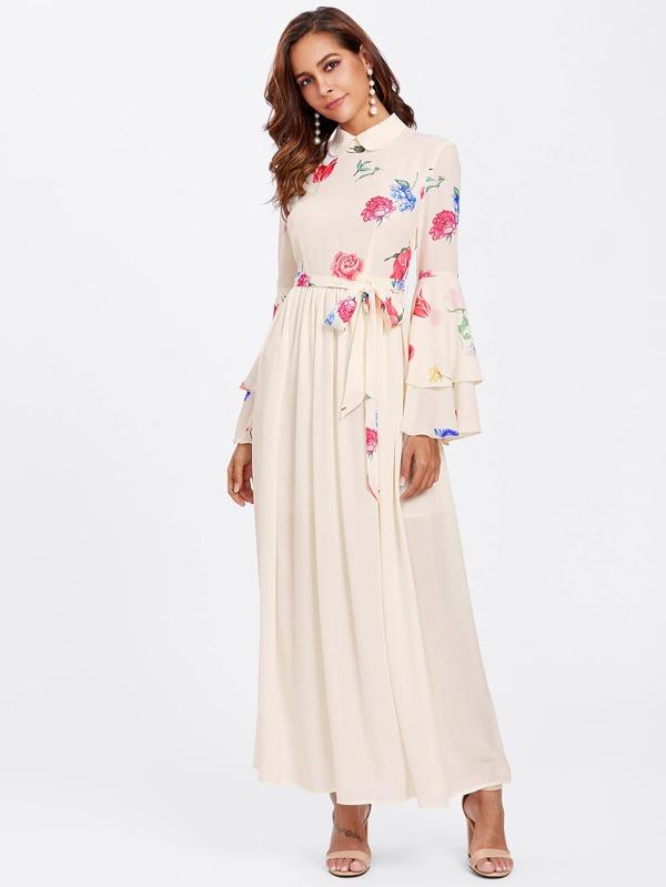 df9507dd29 Layered Bell Sleeve Floral Hijab Evening Dress | SHEIN UK