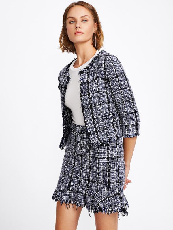 fd09859746 Frayed Tweed Blazer & Skirt Set | SHEIN IN