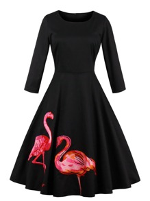 Flamingo Patch Zipper Swing Dress