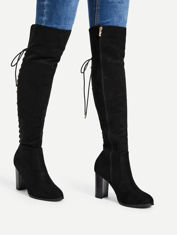 8a7b93cb1bf Cheap Lace Up Back Block Heeled Knee High Boots for sale Australia ...