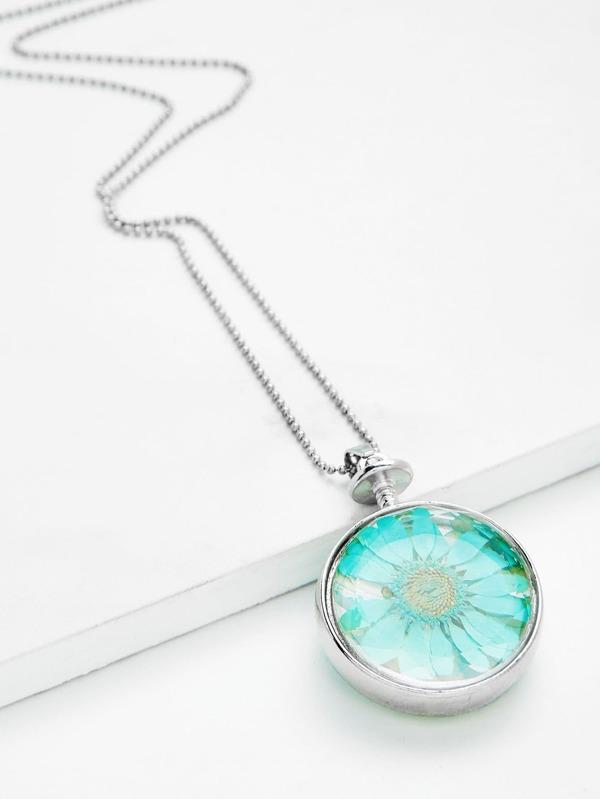Glass flower round pendant chain necklace sheinsheinside aloadofball Choice Image