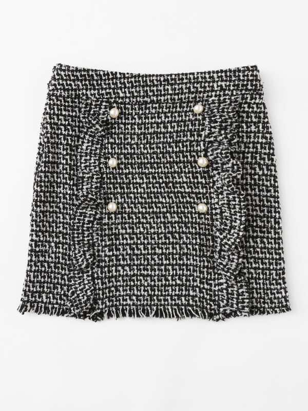 5955ea0fc8 Pearl Button Detail Ruffle Trim Tweed Skirt | SHEIN