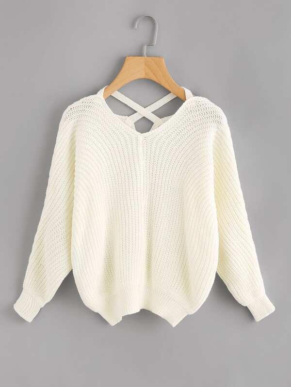 Criss Cross V Back Chunky Knit Sweater by Sheinside