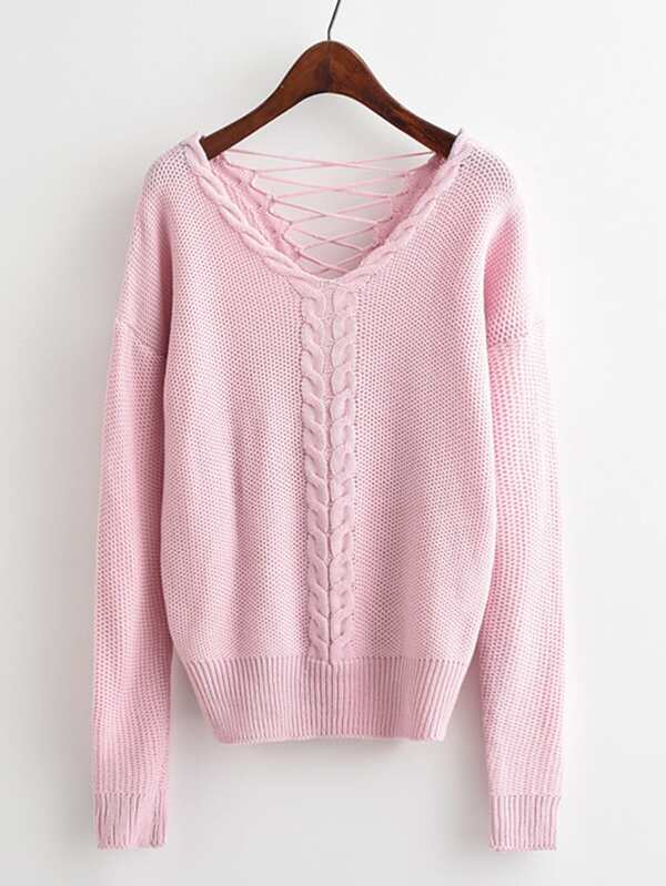 305387bb7c1592 Lace Up Open Back Cable Knit Sweater