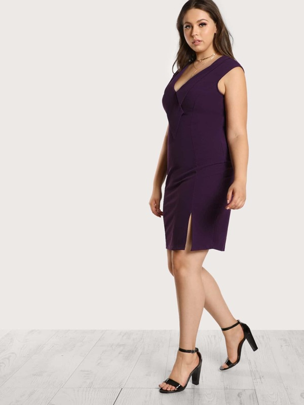 Eggplant Knee Length Dress