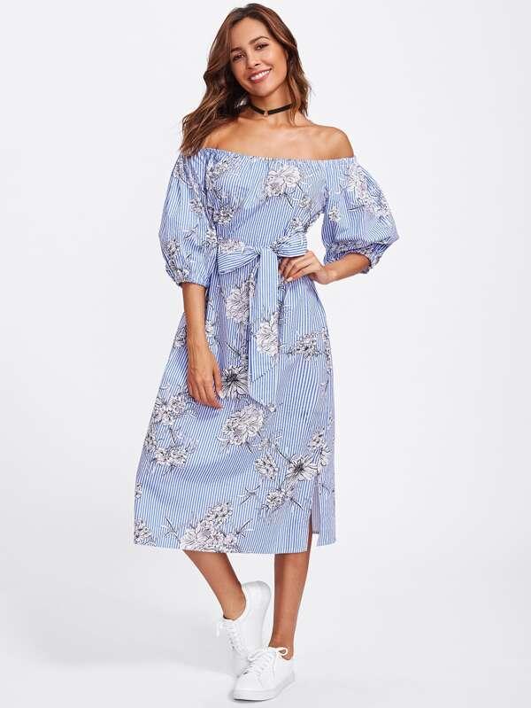 Kleid mit Selbstbindung, Blumen und Streifen - German SheIn(Sheinside)