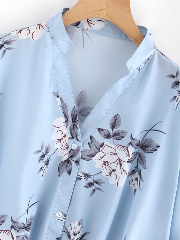 Bluse mit Blumenmuster und Plissee vorn - German SheIn(Sheinside)