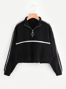 Zip Front Tape Detail Crop Sweatshirt ROMWE