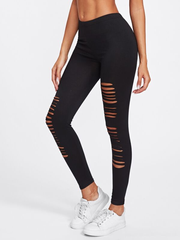 804f5728b6a17 Active Ladder Ripped Gym Leggings   SHEIN IN